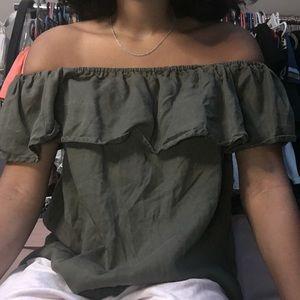 Green off the shoulder shirt